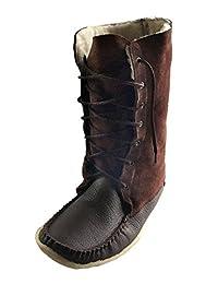 "Laurentian Chief Men's Moccasin Boots Sheepskin Lined 13"" Snowshoe Mukluks"