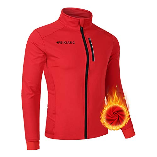 feiXIANG Men's Cycling Bike Jackets, Winter Thermal Softshell Bicycle Jacket Breathable Windbreaker Red (Best Softshell Cycling Jacket)