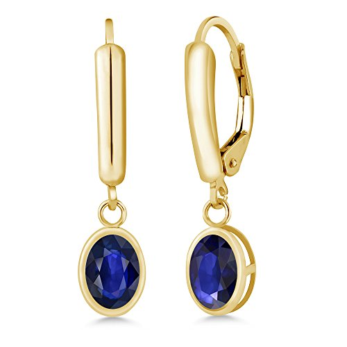 Gem Stone King 1.14 Ct Oval Blue Sapphire 14K Yellow Gold Earrings