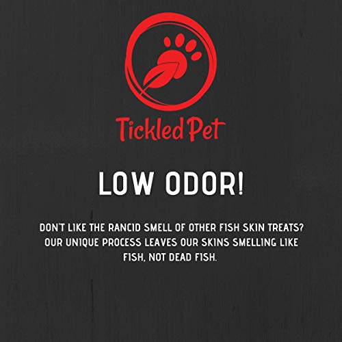 TickledPet Icelandic Cod Fish Skin Dog Treats - Wild Caught Single Ingredient Human Grade Grain Free Chews