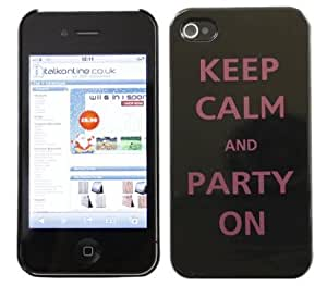 Quaroth - iTALKonline IMPERIAL BLACK CASE with PURPLE Text KEEP CALM AND PARTY ON Pattern Super Slim Hydro Hard Protective...