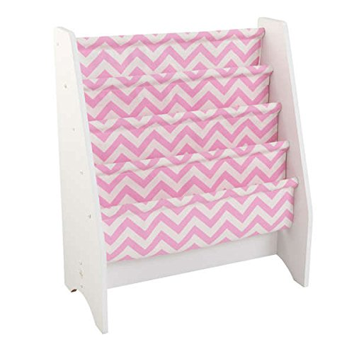 Chevron Polyester Sling Wooden Bookshelf, Pink/White