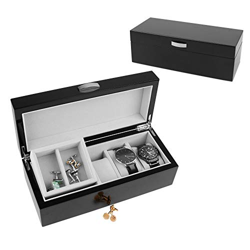 A Comely Lacquer Watch Box 5-slot with 1 Lift-out Valet Tray and 1 Deep Section A5011GR, High Gloss Storage Wooden Organizer Case for Watches and Jewelry, Black Grey