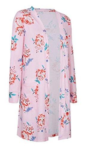 Tunique Asymtrique BESTHOO Chic Vintage Femme Long Manteau Blouse Tops Cardigan Imprim Oversize Manches pink Blouse Tunique Floral Longues Fluide zAr6qz