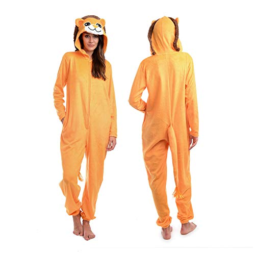 Body Candy Women's Microfleece Hooded Critters Onesie, Lioness Small ()