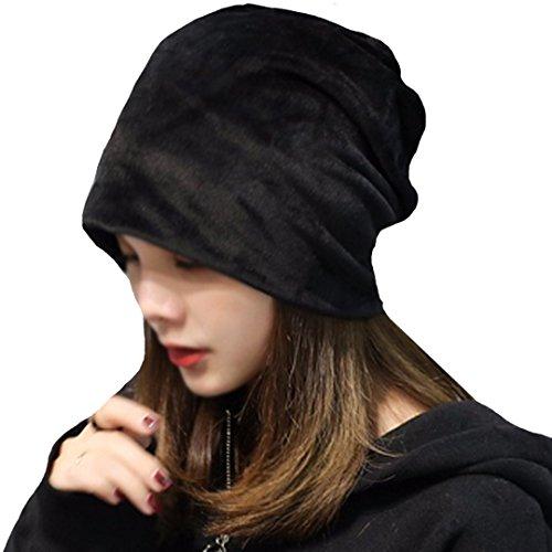 YAOSEN Warm Winter Skull Cap Solid Color Velvet Hat Slouchy Beanie Cap - Velvet Black Color