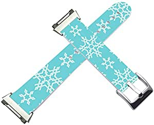 Fitbit Ionic Bands Leather - Fitbit Ionic Strap Silver Connectors Blue Christmas Designer Artwork Day Xmas Pattern Gift