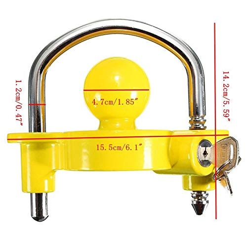Jaune Antivol pour remorque Standard Protection antivol remorque Montage Facile