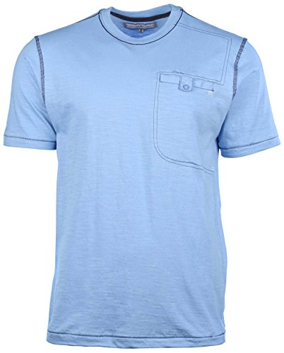 (PD&C Men's Button Pocket Casual T-Shirt-Baby Blue-Small)