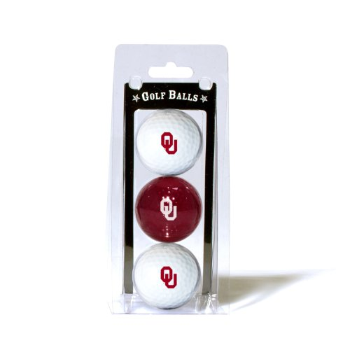 Team Golf NCAA Oklahoma Sooners Regulation Size Golf Balls, 3 Pack, Full Color Durable Team Imprint ()