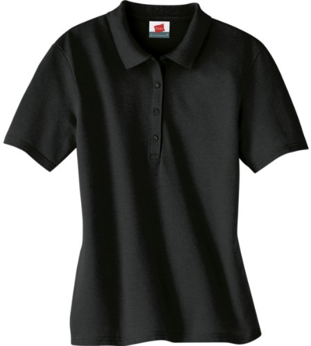 Hanes Women`s ComfortSoft® Cotton Pique Polo Shirt, M-Black