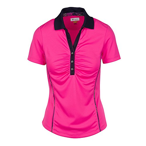 Greg Norman GN Wmn ml75ハイビスカス柄polo-ピンクtaffy- M