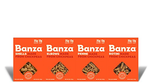 Banza Chickpea Pasta  High Protein Gluten Free Healthy Pasta (Pack of 6) (Pasta Variety (Shells, Elbows, Penne, Rotini))