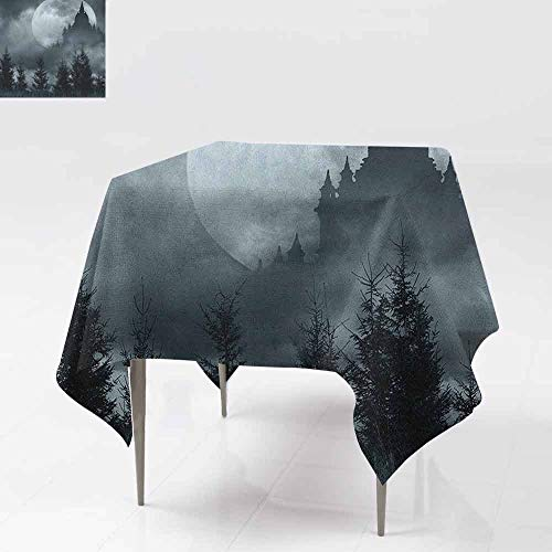 AndyTours Washable Square Tablecloth,Halloween,Magic Castle Silhouette Over Full Moon Night Fantasy Landscape Scary Forest,Table Cover for Kitchen Dinning Tabletop Decoratio,36x36 Inch Grey Pale Grey]()