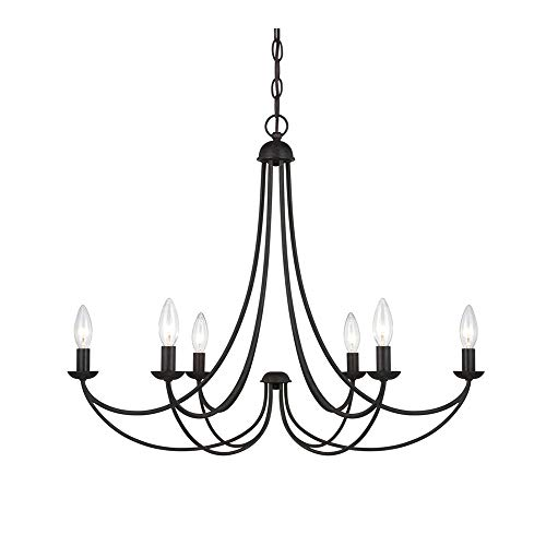 Windsor Home Deco WH-63253 Industrial Black Metal Chandeliers, 6-Light Candle Pendant Lights Fixture, Pendant Lighting