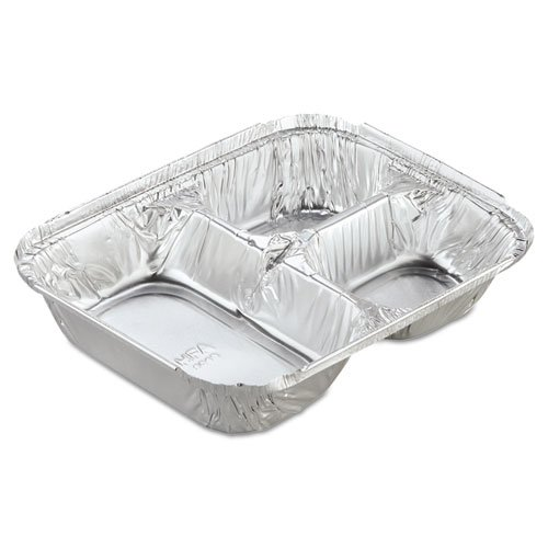 Handi-Foil 2045-35-250WL Aluminum Oblong Container with Lid, 3-Compartment - 250 containers per case