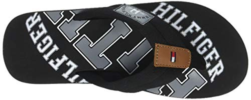Tommy Sandal Beach Noir Black Homme Hilfiger Th 990 Tongs Essential wwU14qf