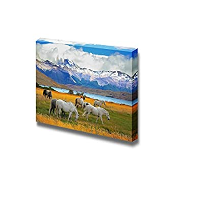 Canvas Prints Wall Art - Beautiful White and Gray Horses Grazing in a Meadow Near The Lake | Modern Wall Decor/Home Art Stretched Gallery Canvas Wraps Giclee Print & Ready to Hang - 32