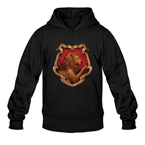 Gryffindor Crest Lion Logo Insignia Black Men's Long Sleeve Hooded Sweatshirt ()