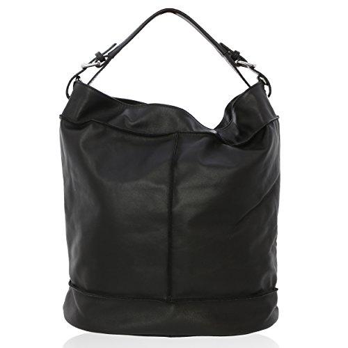 Women Shoulder Bag Made In Genuine Leather Florence 40 * 38 * 19 Cm Black