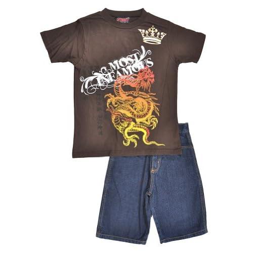 discount Street Elements Big Boys S/S Brown Dragon Design Top 2pc Denim Blue Short Set for cheap