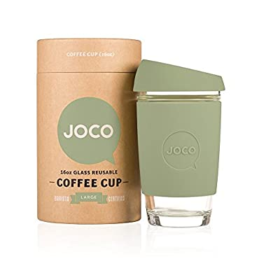 JOCO 16oz Glass Reusable Coffee Cup (Army Green)