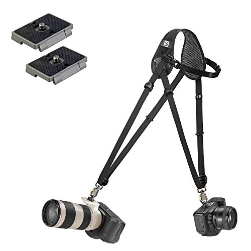 Blackrapid Hybrid Breathe Camera Strap With Shoulder Pad With 2 Ivation Quick Release Plates for the Manfrotto RC2 Rapid Connect Adapter by BlackRapid