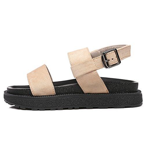 QQWWEERRTT Sandalias de Moda Summer New Flat Student Universal Simple Vintage Rome Zapatos de Plataforma albaricoque