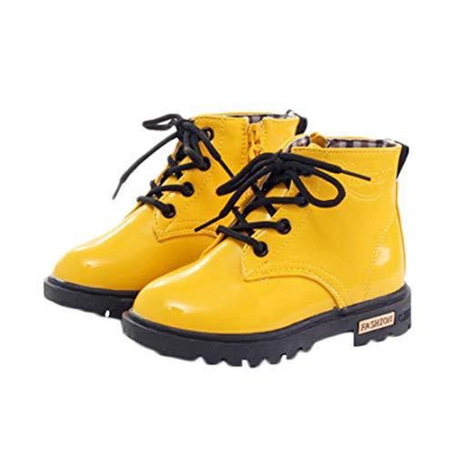 Huicai Botas para niños Martin Botas de tobillo de encaje con cremallera lateral impermeable para niños niñas Zapatillas...