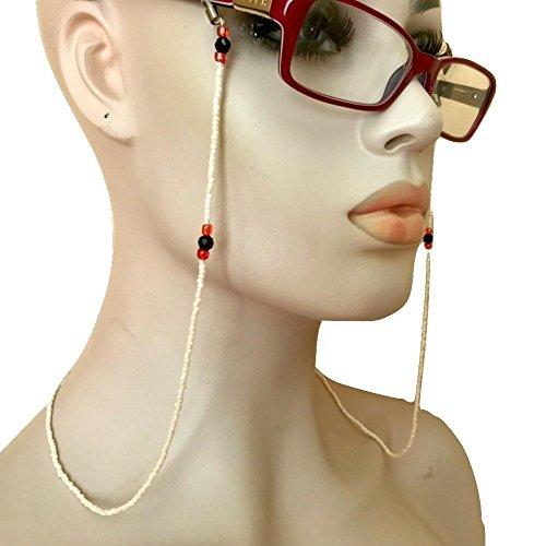 White Eyeglass Chain Holder Black Red Hand Beaded