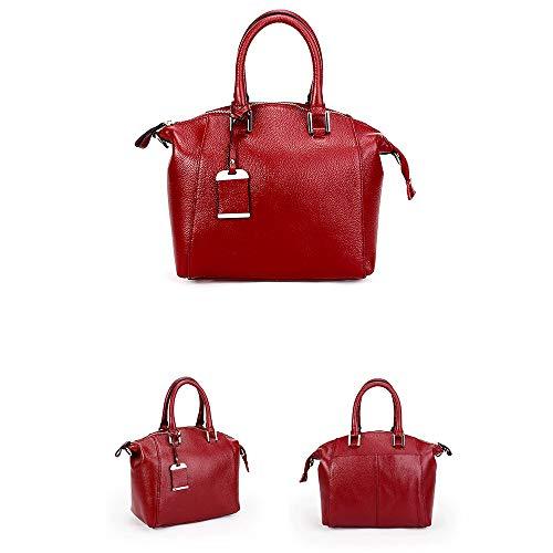Veines Dame Haute De Sacs Mode À Nouveau Cuir Capacité Femmes Bandoulière Main Véritable Red Le Litchi Sac Aux Z8qwzPa