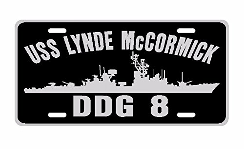 USS LYNDE McCORMICK DDG 8 License Plate Aluminum USN B---- This item is made IN THE USA by veterans for veterans NOT made in China!---- If this item is not from C & K Distributing then it's not Made in the USA!