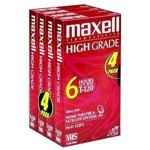 Maxell HG T-120 VHS Tape (4-Pack) (Discontinued by Manufacturer) by Maxell