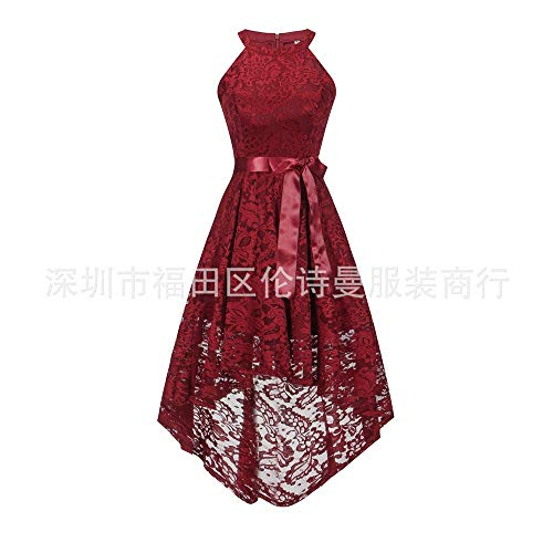 Temperament Sexy Fashion En Ceinture Red Mince Soirée Dentelle Halter fit Robe slim Slouchy qRSwUnz8