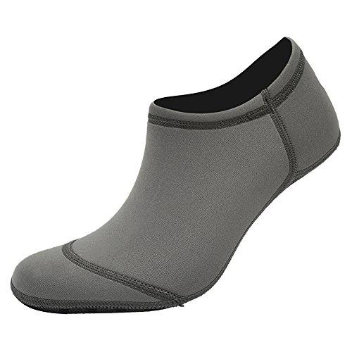 CIOR 3. Verbesserte Version Durable Sohle Barfuß Wasser Haut Schuhe Aqua Socken für Beach Pool Sand Schwimmen Surf Yoga Wassergymnastik D. Grey