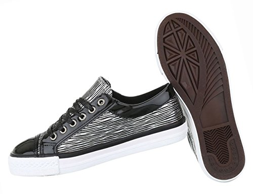 Damen Schuhe Freizeitschuhe Sneakers Turnschuhe Schwarz Modell Nr1 Schwarz