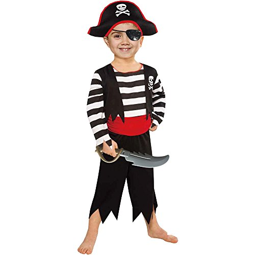 SP Funworld Children's Pirate Boy Costume with Hat, Sword,Eyepatch (6-8Years) Black/Red
