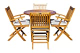 5 Piece Teak Wood Santa Barbara Patio Dining Set, 47' Round Folding Table with 4 Folding Arm Chairs and Cushions, Made from Solid A-Grade Teak Wood