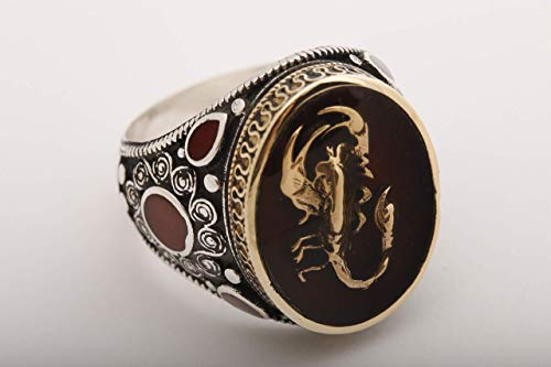 (Turkish Style Handmade Jewelry Oval Shape Red Enamel Scorpion Symbol 925 Sterling Silver Men's Ring Size Option)