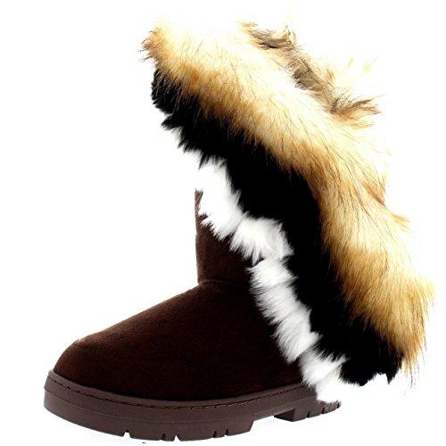 Womens Tall Tassel Winter kalt Wetter Schnee Regen Stiefel Braun
