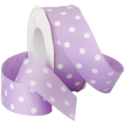 Morex Grosgrain Dot Ribbon, 1-1/2-Inch by 20-Yard Spool, Light Orchid with White Dots