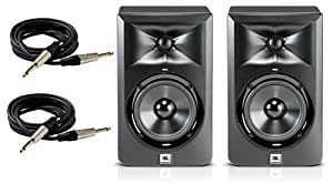 JBL LSR 305 Pair of studio monitors with Cables and Stands Bundle