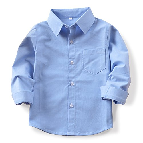 OCHENTA Boys' Long Sleeve Button Down Oxford Shirt, Little Big Kids Dress Tops N003 Sky Blue Tag 110CM - ()
