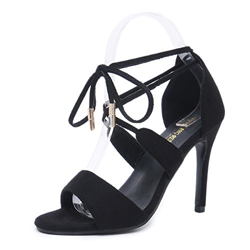 Woman Heels Open Sandals Women Shoes up Lace Women High Sandals Women Toe Heels Pumps Thick Black pit4tk 8qwTHBE