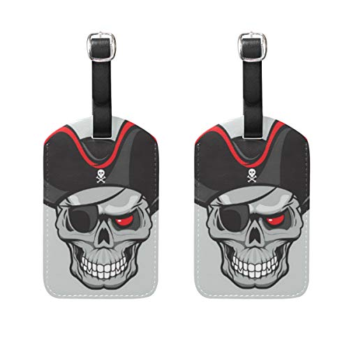 Pirate Travel Luggage Tags Genuine Leather Bag Tags with Full Back Privacy Cover - Set of 2