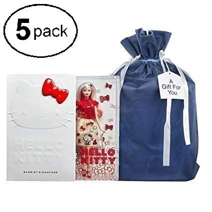 - Large Premium Fabric Gift Bags (Pack of 5) Organza with Lining and Satin Ribbon Holiday Christmas – Solid Blue 23.25