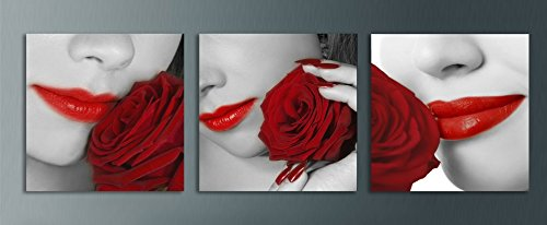 Wowdecor Canvas Prints Wall Art   3 Panels Modern Red Lips Sexy Female And Red Rose Painting Printed On Canvas  Wall Decor Posters Wall Decorations Gift   Ready To Hang
