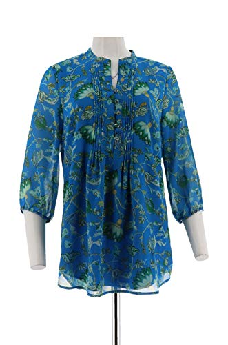 Liz Claiborne NY 3/4 SLV Floral Print Lined Tunic Blue S New A254848