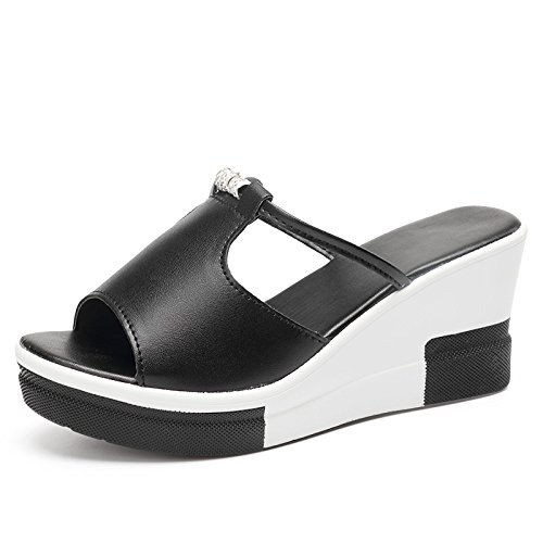 ZPPZZP Ms sandali pantofole a tacco alto trascinare spessa con nero 35EU