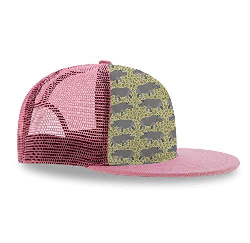 Premium Hat Adjustable Snapback Hats Boys Girls Hip-Hop Flat Bill Baseball Caps for Golf Tennis, (Rhino Rhinoceros)